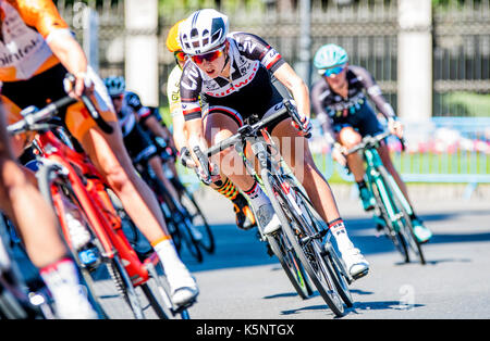 Madrid, Spain. 10th Sep, 2017. A cyclist of Sunweb rides during the women cycling race 'Madrid Challenge' on September - Stock Photo