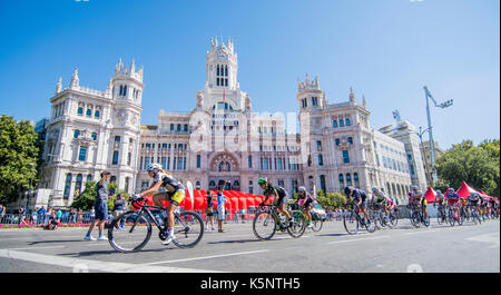 Madrid, Spain. 10th Sep, 2017. A cyclist of peloton rides during the women cycling race 'Madrid Challenge' on September - Stock Photo