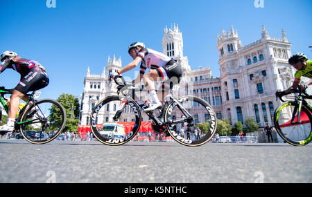 Madrid, Spain. 10th Sep, 2017. Floortje Mackaij (Team Sunweb) rides during the women cycling race 'Madrid Challenge' - Stock Photo