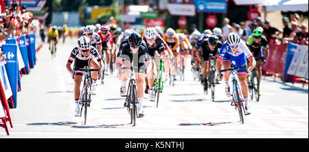 Madrid, Spain. 10th Sep, 2017. Jolien D'Hoore (Wiggle High5) wins the women cycling race 'Madrid Challenge' on September - Stock Photo