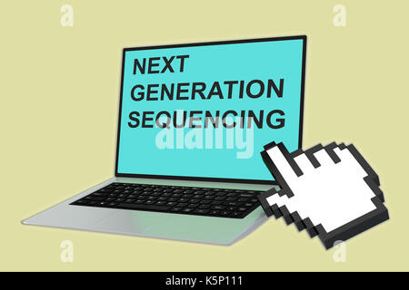 3D illustration of 'NEXT GENERATION SEQUENCING' script with pointing hand icon pointing at the laptop screen - Stock Photo