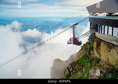 The new and beautiful aerial cable car - Dragon Ride at Mount Pilatus, Lucerne, Switzerland - Stock Photo