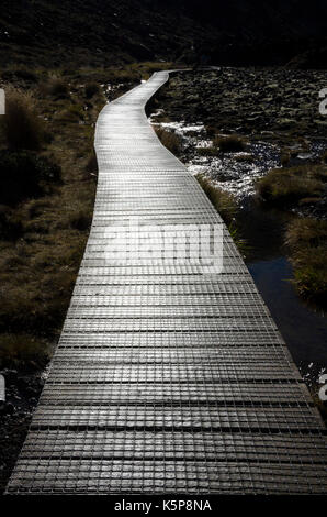 Boardwalk in Mangatepopo Valley, Tongariro Crossing, Tongariro National Park, North Island, New Zealand - Stock Photo