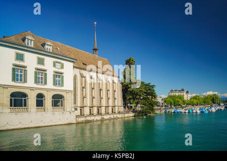Afternoon cityscape with Limmat river of the historical Zurich city, Switzerland - Stock Photo