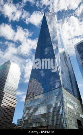 One World Trade Center on site of Twin Towers in New York - USA - Stock Photo