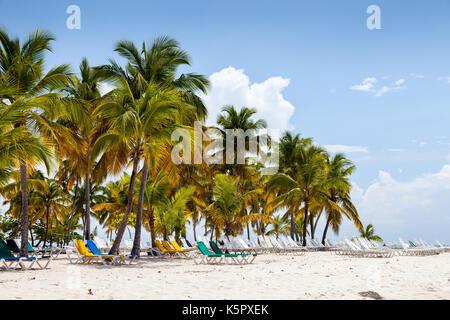 Cayo Levantado beach with hammocks - Stock Photo