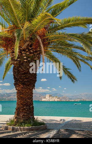 Bourtzi Venetian Fortress, and palm tree. Nafplio historic sea port, Peloponnese, Greece. - Stock Photo