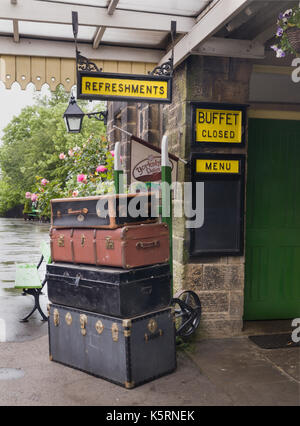 Embsay steamtrain railway station with vintage suitcases and ...