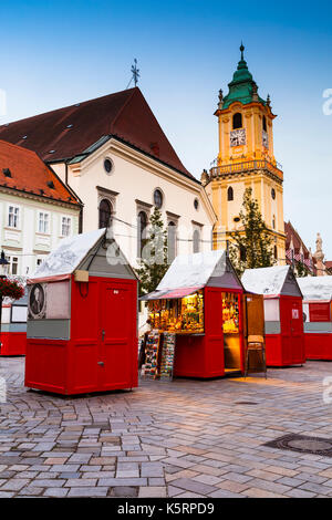 The old town hall in the main square of the old town in Bratislava, Slovakia. - Stock Photo