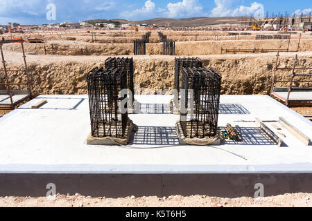 Reinforced concrete foundation at construction site - Stock Photo