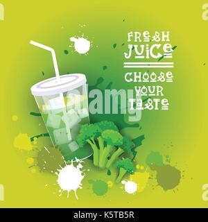 Fresh Juice Logo Healthy Vitamin Drink Bar Colorful Banner - Stock Photo
