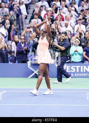 New York, NY USA - September 9, 2017: Sloane Stephens celebrates victory against Madison Keys at US Open tennis - Stock Photo
