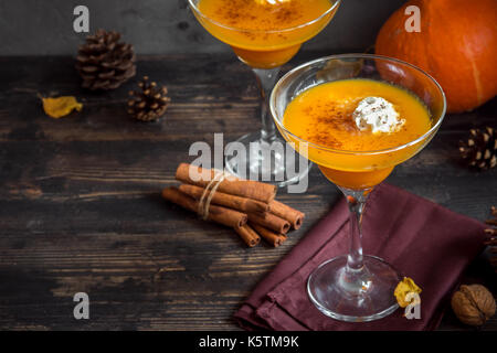 Fall Seasonal Drinks. Thanksgiving and Halloween Cocktails. Margarita Cocktail with Pumpkin Pie Spices and Whipped - Stock Photo