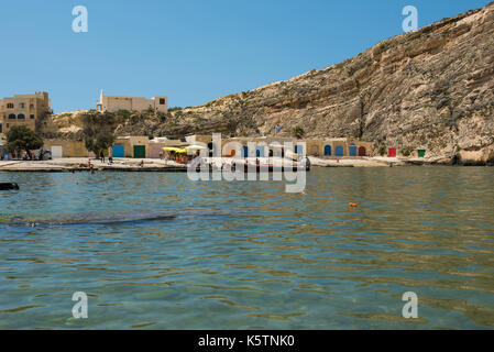 DWEJRA, MALTA - AUGUST 22, 2017: The Inland Sea (Qawra, Dwejra), is a lagoon of seawater on the island of Gozo linked - Stock Photo