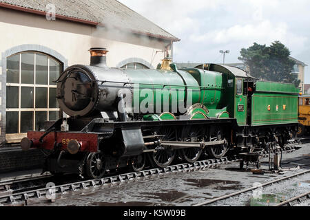 6960 Raveningham Hall Steam Train at the West Somerset Railway at Minehead Station - Stock Photo