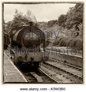 A steam train in the station at Lakeside on the Lakeside & Haverthwaite railway in the Lake District Cumbria England - Stock Photo