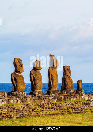 Moais in Ahu Vai Uri, Tahai Archaeological Complex, Rapa Nui National Park, Easter Island, Chile - Stock Photo