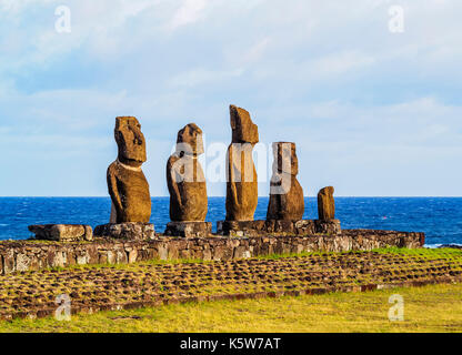 Moais in Ahu Vai Uri, Tahai Archaeological Complex, Rapa Nui National Park, Easter Island, Chile - Stock Photo