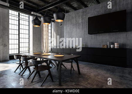 Wooden table and chairs in spacious kitchen with dining room in loft flat - Stock Photo