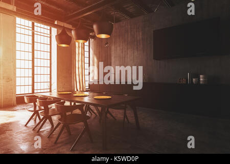 Modern dining room interior with ceiling lights illuminating a wooden table and modern chairs with warm sunlight - Stock Photo
