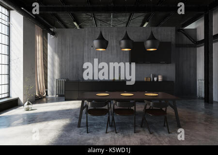 Modern hipster dining area in an industrial loft conversion with ceiling lights illuminating the table, concrete - Stock Photo