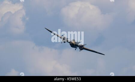 The world only airworthy Bristol Blenhein flying at Bournemouth Air Festival - Stock Photo