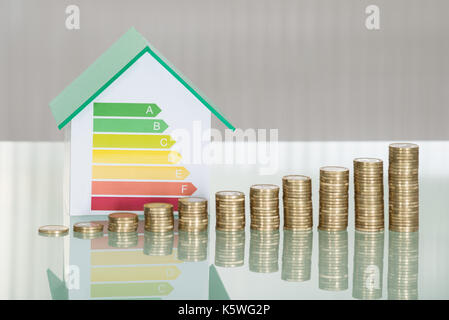 Close-up Of Stacked Coins And House Model Showing Energy Efficiency Rate On Desk - Stock Photo