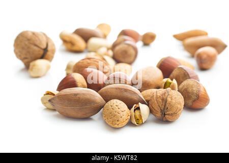 Different types of nuts in the nutshell. Hazelnuts, walnuts, almonds, pecan nuts and pistachio nuts isolated on - Stock Photo
