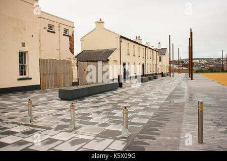 The old Ebrington Army barracks the one time home of the South Wales Borderers British army regiment in Londonderry - Stock Photo