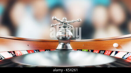 Roulette in casino, black and red, 3d render illustration - Stock Photo