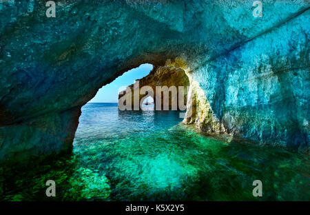 Greece, The island of Zakynthos. One of the most beautiful blue caves in the world. The Ionian Sea.  Blue caves - Stock Photo