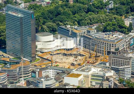 Dreischeibenhaus, Schauspielhaus with construction work, Gustav Gründgens Square, Restaurant Hofgarten, Dusseldorf, - Stock Photo