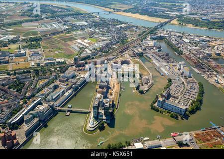 Media Harbor Dusseldorf, Dusseldorf, Rhineland, North Rhine-Westphalia, Germany, Dusseldorf, Europe, aerial photo, - Stock Photo