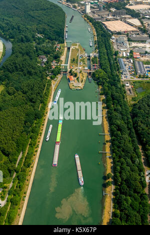 Wesel-Datteln-Kanal, lock with construction works, inland navigation and freighter jam in the lock corridor, Dorsten, - Stock Photo