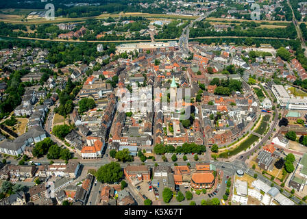 Downtown Dorsten West ditch and South Graben, ramparts, Market Square, Church of St. Agatha, Old Town Hall, Dorsten, - Stock Photo