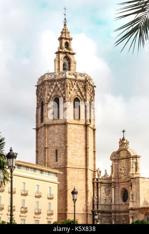 Torre del Micalet, o Miguelete bell tower, in Valencia, Spain - Stock Photo