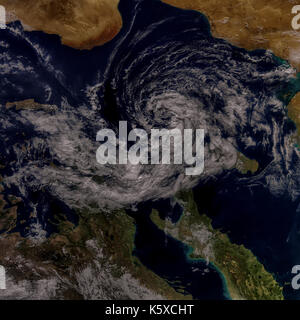 Cyclonic Storm in the Mediterranean. Elements of this image are furnished by NASA - Stock Photo