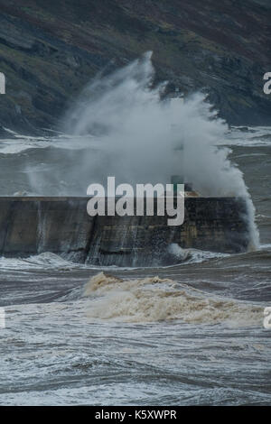 Aberystwyth Wales UK, Monday 11 September 2017 UK Weather: Strong gale force winds and stormy seas batter the harbour - Stock Photo