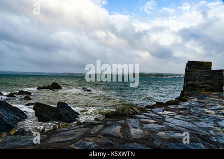 Polkerris, Cornwall, UK. 11th Sep, 2017. UK Weather: High, Winds and Rain Showers hit Cornwall's South East Coast - Stock Photo