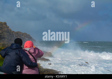 Sennen, Cornwall, UK. 11th Sep, 2017. UK Weather. Winds gusting upto 50 mph at Sennen Cove in north west Cornwall. - Stock Photo