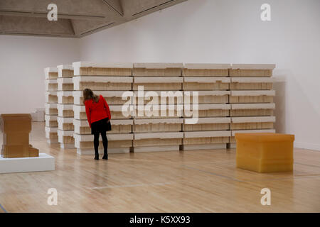 London, UK. 11th Sept, 2017. A member of staff looks at 'Untitled (Book Corridors). One of the leading artists of - Stock Photo