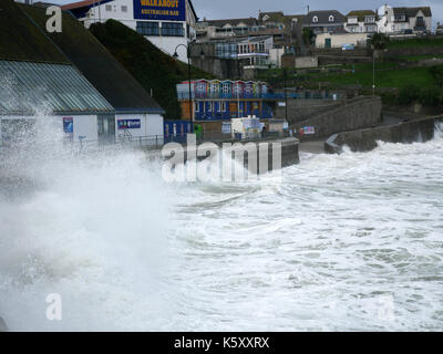 Newquay, Cornwall, UK. 11th Sep, 2017. Stormy seas and gale force winds whip up the ocean in Newquay. Credit: Nicholas - Stock Photo
