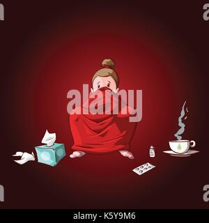 Colorful vector illustration of a cartoon sick girl, covered with blanket, having hot tea or medicine and used tissues - Stock Photo