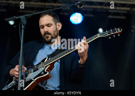 Thornhill, Scotland, UK - September 1, 2017: Martin Noble of English indie rock band British Sea Power during day - Stock Photo