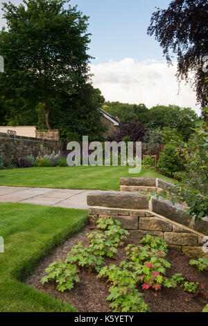 Beautiful, private, traditional, landscaped, country garden, West Yorkshire, England, UK - herbaceous borders, summer - Stock Photo