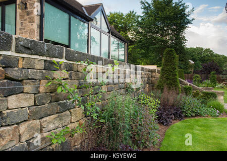 Beautiful, private, traditional, landscaped, country garden, West Yorkshire, England, UK - summer view of lawn & - Stock Photo