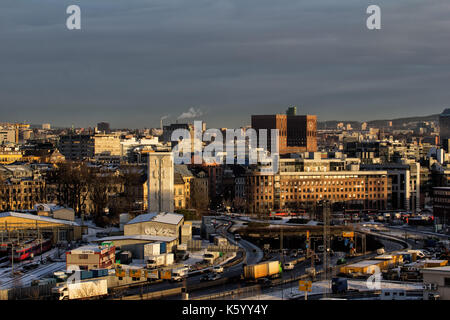 View of Oslo City Hall in oslo norway - Stock Photo