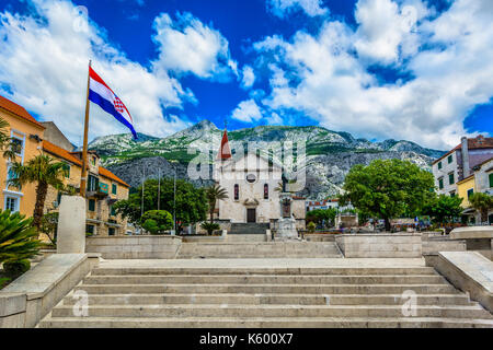 Scenic view at old architecture in Makarska town square, Croatia. - Stock Photo