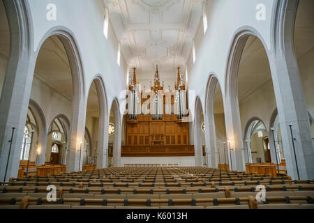 Schaffhausen, JUL 15: Interior view of Kirche St. Johann on JUL 15, 2017 at Schaffhausen, Switzerland - Stock Photo