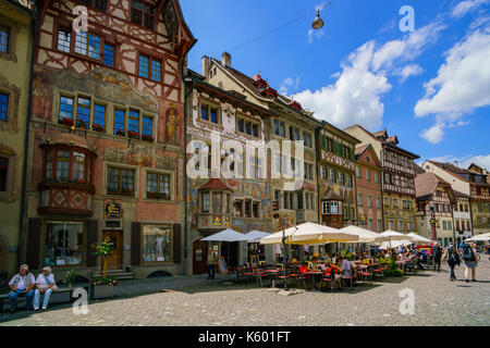 Schaffhausen, JUL 15: House Painted with Frescoes. The beautiful Stein am Rhein is a historic town and a municipality - Stock Photo